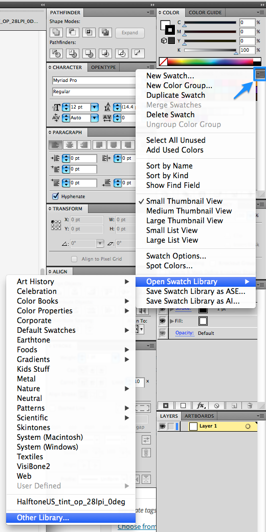 Swatches panel menu > Open Swatch Library > Other Library > [select library]